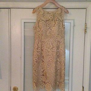 Cache Light Beige Lace Dress Sz 2 EUC
